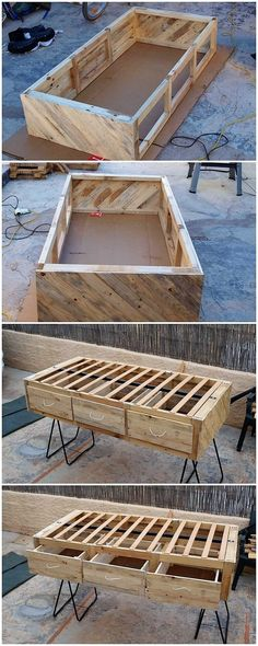 Easiest and Cheap DIY Projects with Old Shipping Wood Pallets: Did you ever try crafting the wood pallet designing projects by your own? Wooden Pallet Shelves, Wooden Pallet Projects, Wooden Pallets, Pallet Ideas, Pallet Garden Furniture, Diy Furniture, Furniture Design, Bathroom Furniture, Recycled Pallets