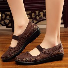 52a09c265b9 Big Size Mesh Breathable Flower Printing Wedge Heel Loafers is cheap and  comfortable. There are other cheap women flats and loafers online.