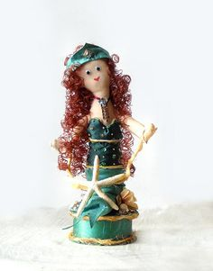 Mermaid Art Doll Jeweled Sculpture Nautical by AlteredEcoDesigns