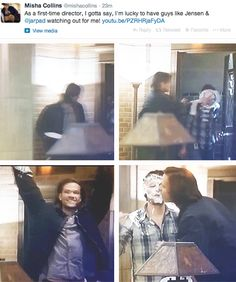 """(gif set) """"As a first-time director, I gotta say, I'm lucky to have guys like Jensen & Jared watching out for me!"""""""
