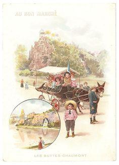 Les Buttes Chaumont - Attelage Ane Enfant - Chromo Au Bon Marché - Trade Card