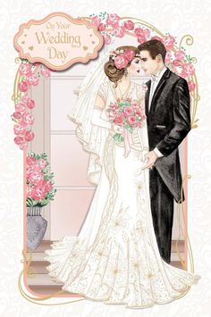 Art Deco ~ On Your Wedding Day ~ Large Boxed Luxury Wedding Day Card Wedding Topper, Art Deco Wedding, Wedding Bride, Luxury Wedding, Wedding Cards Images, Wedding Cards Handmade, Cute Flower Drawing, Wedding Dress Sketches, Wedding Painting