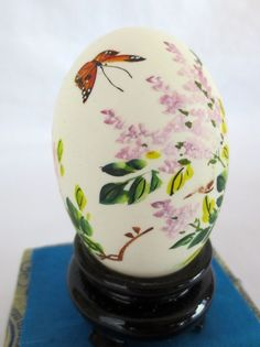 Vintage Chinese Hand Painted Egg with Glass Display Case Butterfly Flower 5.25""