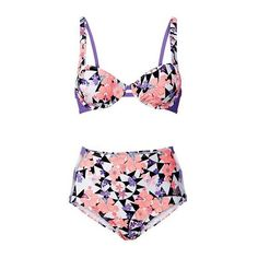 Rotita High Waist Flower Print Cutout Two Piece Swimwear ($24) ❤ liked on Polyvore featuring swimwear, bikinis, pink, high-waisted bikinis, pink bikini, floral bikini, pink floral bikini and padded bikinis