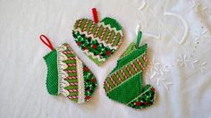 Quilted Ornaments Set of 3 by tabachin on Etsy