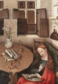 Detail, 'The Annunciation' (1420s) by Belgian painter Robert Campin (the Master Of Flémalle, 1375-1444). Tempera on wood. collection: Royal Museums of Fine Arts of Belgium. source: Wikimedia. via It's About Time