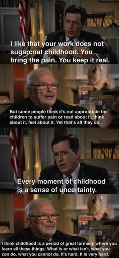 Wisdom from Maurice Sendak on The Colbert Report=perfection