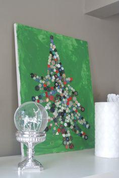 Easy Kids Christmas Craft – Button Christmas Tree on Canvas | Frugal Edmonton Mama
