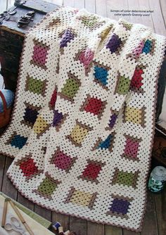 Crochet PATTERN ONLY ~ Wooden Spool & Thread Afghan ~ Sewing, Country