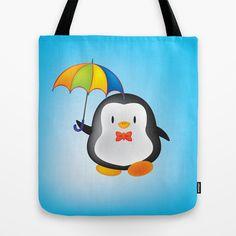 umbrella penguin Tote Bag by mangulica - $22.00