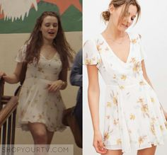 "13 Reasons Why: Season 1 Episode 2 Hannah's White Floral Dress | Hannah Baker (Katherine Langford) wears this white v neck yellow floral flared mini dress in this episode of 13 Reasons Why, ""Tape 1, Side B"".  It is the Kimchi Blue Sarah Flutter-Sleeve Chiffon Mini Dress."