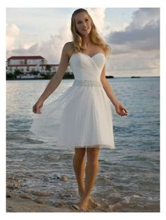 Sweetheart Dropped Waist Pleated Tea Length Satin White Simple Wedding Dresses