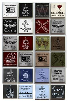 Supernatural SPN Fandom - One (1) Ceramic Tile Refrigerator Memo Magnet Magnets - Cakehole Wayward Son Crowley Keep Calm Carry Salt on Etsy, $2.50