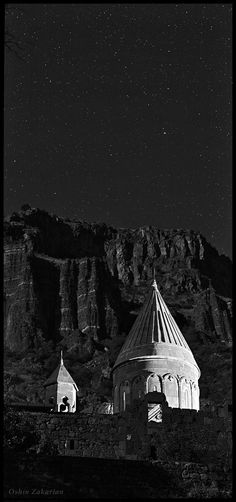 A starry night above the monastery of Geghard, a world Heritage Site in Armenia. Another World, Armenia, World Heritage Sites, Black And White Photography, Spirituality, Portrait, Night, Darkness, Pictures