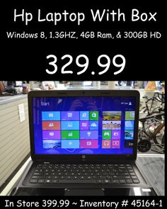 HP With Box Laptop for 329.99. Call 618-244-0291 for payment & shipping options or come in & see Tiffany & let her know you saw it here