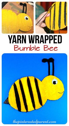 Yarn Wrapped bumble bee craft for the kids. a cute spring or summer craft & a great fine motor activity as well Bee Crafts For Kids, Spring Crafts For Kids, Toddler Crafts, Arts And Crafts, Insect Crafts, Bug Crafts, Preschool Crafts, Artists For Kids, Art For Kids