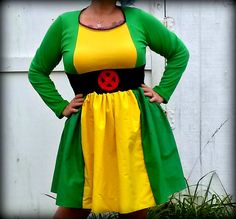 Rogue X Men inspired longsleeve dress Cosplay Costume Halloween womens AND plus size custom handmade