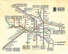 The map above is an East German transit map showing U-Bahn (Underground) and S-Bahn (Suburban) train lines in Berlin. Map Vintage, Vintage Images, U Bahn Plan, Berlin Ick Liebe Dir, Transport Map, Public Transport, Kitsch, U Bahn Station, Bahn Berlin