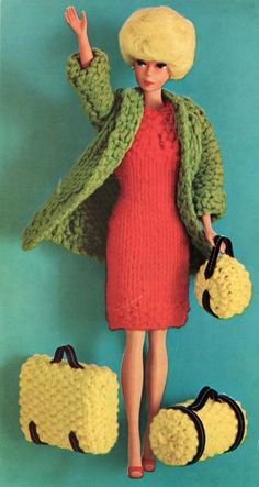 The Vintage Pattern Files: 1960s Free Knitting Pattern -  Barbie Doll Travel Ensemble