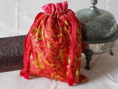 Chinese brocade drawstring bag red with by EcoTurtleUpcycling
