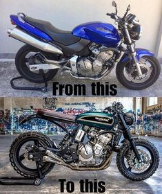 Before and after of this Honda Hornet by We support the tracker & scrambler community and celebrate the builders. Cb400 Cafe Racer, Cafe Racer Honda, Honda Scrambler, Cafe Bike, Cafe Racer Bikes, Cafe Racer Motorcycle, Vespa, Tracker Motorcycle, Moto Bike