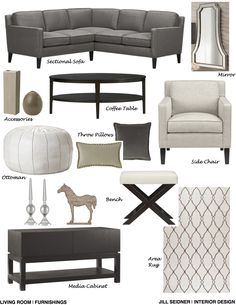Paramount, CA Online Design Project Living Room Furnishings Concept Board.