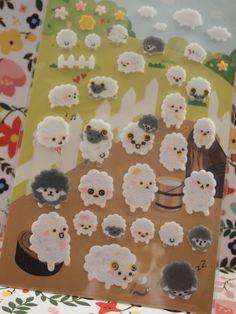 Schöne Schafe Schaumstoff Sticker Aufkleber 1 Blatt von pikwahchan