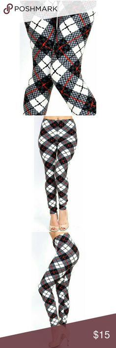 """Coming Soon (Plus) Curvy Tartan Print Leggings Peachskin print full leggings. Black, white, red tartan houndstooth plaid print. Highwaisted with 1"""" Wide elastic waistband. Very soft. Great to wear dressed up with heels or casual with tennies. New in package. L 37"""" I 27"""" R 10. Fits XL to 2X (14-22) comfortably.  One size BohoBeauRoseBoutique Pants Leggings"""