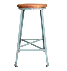 Industrial Post Office Stool C1925 With Original Blue Finish