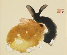 Takeuchi Seiho. Rabbits Japanese Watercolor, Japanese Painting, Watercolor Art, Rabbit Drawing, Rabbit Art, Bunny Art, Korean Art, Painting Gallery, Japan Art