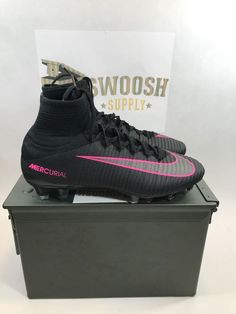 6bedb12c9bd Nike Mercurial Superfly V FG Black Pink Soccer Cleats 831940-006 Men Sz 7.5   300
