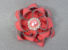Pink Flower Brooch  Upcycled  Recycled  by Pocketfullposies