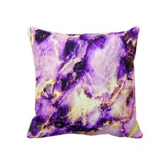 Cool Marble Texture purple pink white Throw Pillow   $59.95