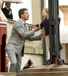 Prince Christian of Denmark throwing a fit at a parade to celebrate his grandfather's 75th birthday
