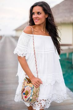 Off shoulder hippie bohemian boho gypsy dress in white. For more follow www.pinterest.com/ninayay and stay positively #pinspired #pinspire @ninayay
