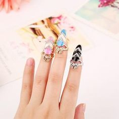 Cheap nail bath, Buy Quality nail liner directly from China nail art design tips Suppliers: 2016 Newest Design Fashion Bowknot Pattern Art Finger Nail Rings High Quality Personality Rhinestone Punk Nail Ring for Women Full Finger Rings, Ring Finger, Womens Jewelry Rings, Jewelry Accessories, Women Jewelry, Jewelry Art, Jewlery, Rhinestone Nails, Rhinestone Jewelry