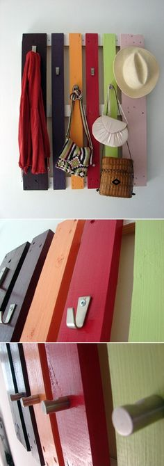 Colorful DIY Coat Rack From A Wood Pallet, would be good for garden shed Diy Coat Rack, Pallet Creations, Diy Interior, Wood Pallets, Pallet Wood, Decoration, Diy Design, Wood Projects, Diy Furniture