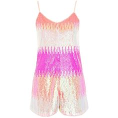 TopShop Sherbert Sequin Romper ($125) ❤ liked on Polyvore featuring jumpsuits, rompers, topshop, multi, playsuit romper, sequin romper, topshop rompers, pink rompers and topshop romper