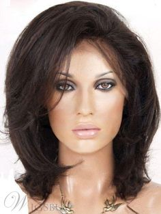 #WigsBuy - #WigsBuy Natural Medium Straight Dark Brown 100% Human Hair Lace Front Wig 12 Inches - AdoreWe.com