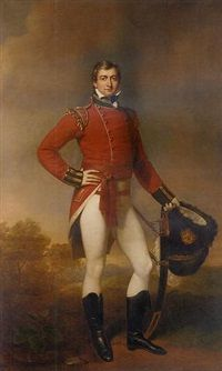 Portrait of Captain John Barneby in the uniform of the Hereford Militia, his left arm resting on his sword, in a wooded landscape by Sir Martin Archer Shee