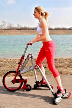A bike crossed with a pair of inline skates…hmmm…could be a good cardio workout!