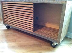 Reclaimed Wood TV Stand, Storage Unit, Media Stand with Sliding Doors, Media… Bedroom Tv Stand, Tv In Bedroom, Timber Slats, Wooden Slats, Reclaimed Wood Bedroom Furniture, Diy Furniture, Reclaimed Wood Tv Stand, Light Wood Kitchens, Tv Stand With Storage