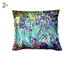 Coppia di cuscini arredo puro cotone Van Gogh Iris - 40x40 cm