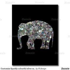 Sparkly colourful silver mosaic Elephant Black Postcard by #PLdesign #SilverSparkles #SparklesCard