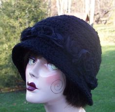 AnniesWearableArt~organza roses on black crochet cloche