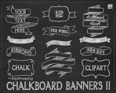 Chalkboard clipart  CHALKBOARD BANNERS II pack от DigiWor...