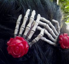 Skeleton Hand Hair Clips With Red Roses - sugar skull, pin up, rockabilly, goth, cute, spooky accessory