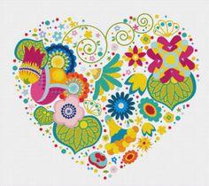 Heart of Flowers Cross Stitch Pattern