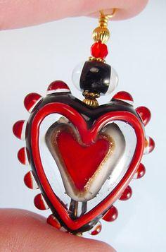 Jan Harris - heart in a heart #lampwork #beads