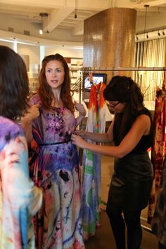 Editor-in-Chief of Modern Luxury Interiors, Diana Bitting, getting styled in Maya Romanoff's archived hand dyed garments for a special event in the Chicago Flagship Showroom